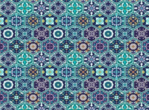 Smart Art Bespoke Printed Vinyl Tiles Portuguese with blue 15X15