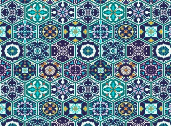 Smart Art Bespoke Printed Vinyl Tiles Portuguese with blue 20X20