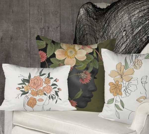 Smart Art Bespoke Printed Cushion Cover Line Art FLoral Woman