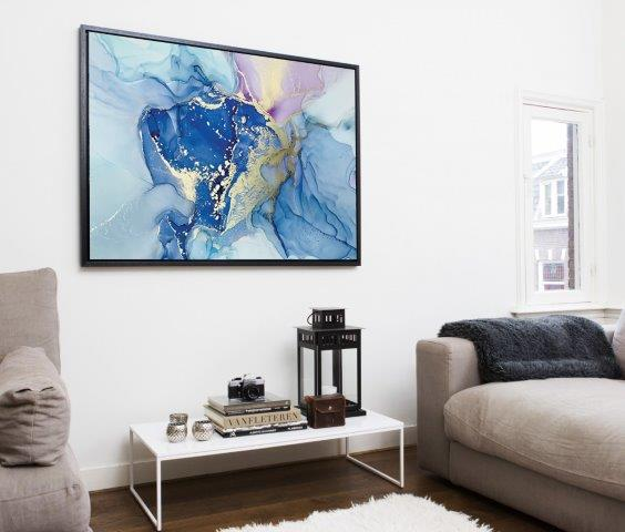 Smart Art Bespoke Printed Floating Canvas Blue Abstract
