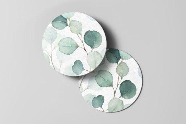 Smart Art Bespoke Printed Eucalyptus Leaves Coaster