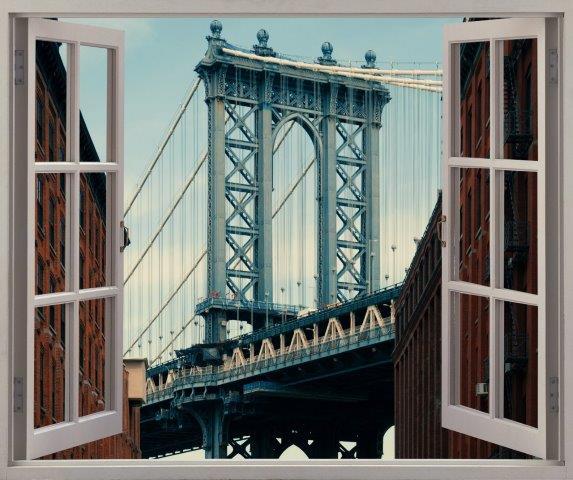 Smart Art Bespoke Printed Faux Peel and Stick Vinyl Stickers New York Bridge