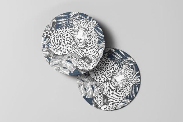 Smart Art Bespoke Printed blue leopard Coaster