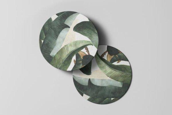 Smart Art Bespoke Printed green leaves Coaster