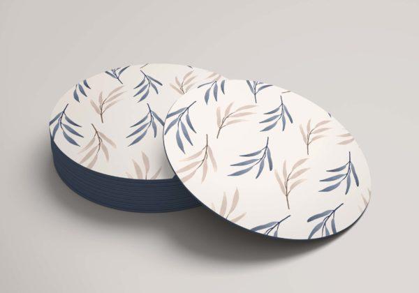 Smart Art Bespoke Printed Round Coaster Leaves