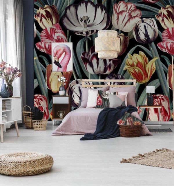 smart art designer wallpaper interior design large vibrant poppy design (3)