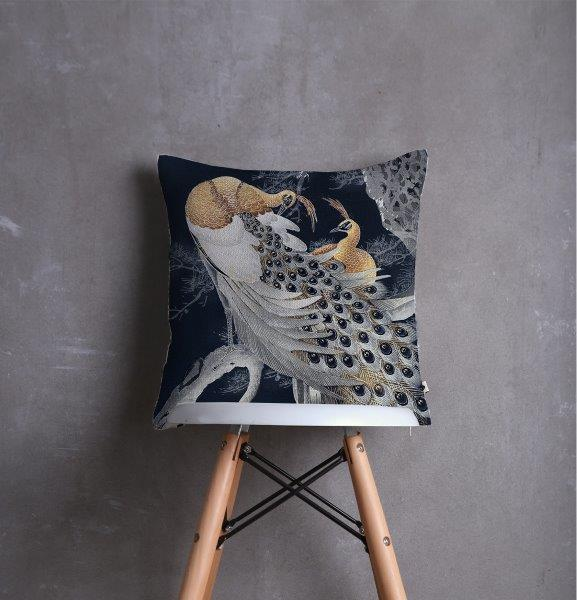 Smart Art Printed Scatter cushion cover peacock