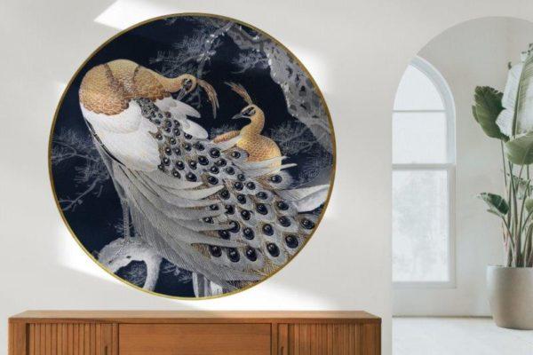 Smart Art Bespoke Printed Round Wall Vinyl Peacock