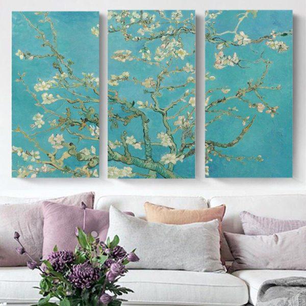 Smart Art Printed Triptych canvas Almond
