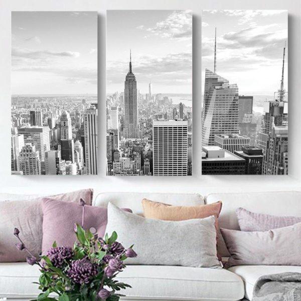 Smart Art Printed Triptych canvas City