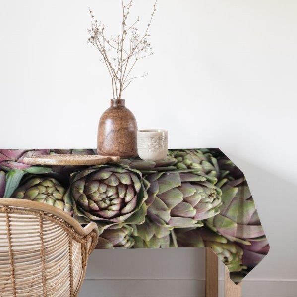 Smart Art bespoke printed table linen artichokes