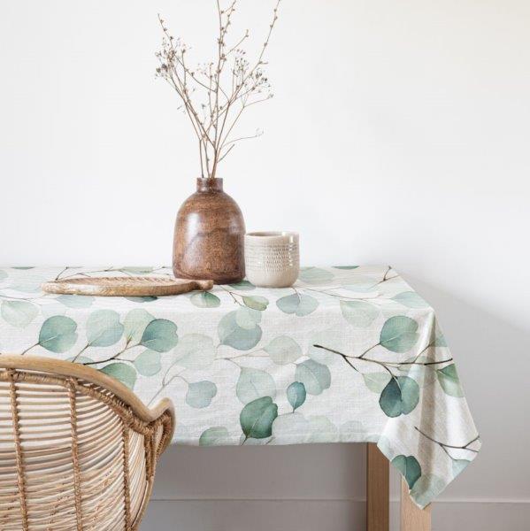 Smart Art bespoke printed table linen eucalyptus leaves