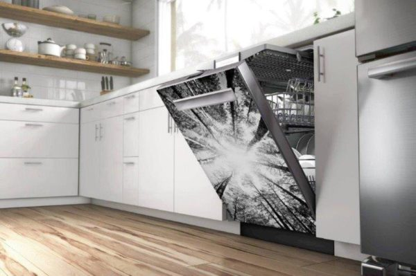 Smart Art Bespoke Printed Appliance Vinyl Sticker Dishwasher Trees