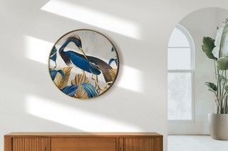 Smart Art Bespoke Printed Wall Art Blue Heron and Gold Leaves