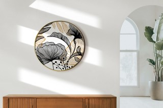 Smart Art Bespoke Printed Wall Art Gold and Black Leaves and Flowers